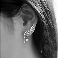 cheap -Women's Cubic Zirconia Stud Earrings Ear Climbers Earrings Leaf Drop Ladies Simple Tassel Jewelry Gold / Silver For Wedding Party Gift Daily Masquerade Engagement Party
