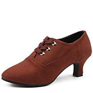 billige Moderne sko-Dame Sko til latindans Fløyel Høye hæler Tykk hæl Kan ikke spesialtilpasses Dansesko Svart / Brun / Rød