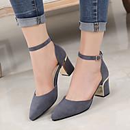 tanie Small Size Shoes-Damskie PU Lato Bez pięty Sandały Masywny obcas Czarny / Szary / Migdałowy