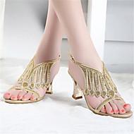 Feminino Sapatos Couro Ecológico Verão Chanel Sandálias Salto Grosso Para Casual Dourado