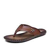 Herre Sandaler Komfort PU Vår Sommer Fritid Flat hæl Navyblå Mørkebrun Kakifarget Flat