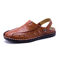 Pánské Obuv Kůže Léto Pohodlné Sandály Pro Ležérní Černá Světle hnědá Tmavěhnědá