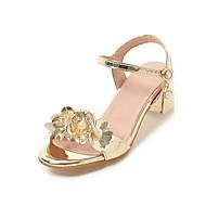 レディース-ウェディング ドレスシューズ パーティー-PUレザー-チャンキーヒール-コンフォートシューズ フラワーガールの靴 10代のための小さなハイヒール-サンダル-