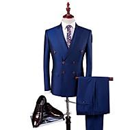 Modrá Jednobarevné Slim Polyester / Viskóza Oblek - Špičaté Jednořadé se čtyřmi knoflíky / Obleky
