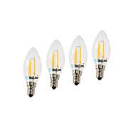 4W E14 フィラメントタイプLED電球 C35 4 LEDの COB 調光可能 温白色 クールホワイト 350-400lm 2700-3200  6000-6500K AC220V