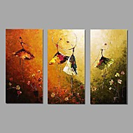 Abstract Ballet Dancer Picture Canvas Handpainted Oil Painting 3 Piece/set Wall Art With Stretched Frame Ready to Hang