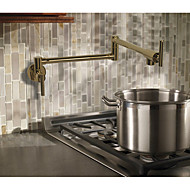 Art Deco/Retro Country Modern Pot Filler Centerset Widespread Rotatable Ceramic Valve Two Handles One Hole Rose Gold , Kitchen faucet