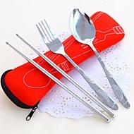 Aço Inoxidável 304 Conjunto Colheres Garfos chopstick 3 Peças