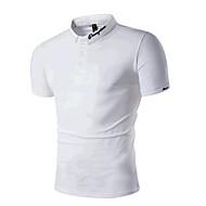 メンズ カジュアル/普段着 ビーチ 夏 Polo,シンプル 活発的 シャツカラー レタード コットン 半袖 ミディアム