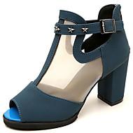 cheap Women's Sandals-Women's Shoes PU Summer Comfort Sandals Walking Shoes Chunky Heel Open Toe Ribbon Tie for Outdoor Black Blue Burgundy