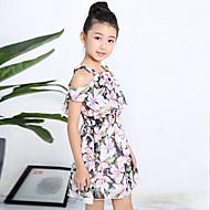 Djevojka je Pamuk Cvjetni print Dnevno Izlasci Praznik Ljeto Kratkih rukava Haljina Cvijetan Obala Crn Blushing Pink