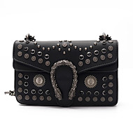 Women Bags All Seasons PU Shoulder Bag Rivet for Wedding Event/Party Casual Formal Office & Career Black Red Brown