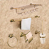 cheap Antique Brass Series-Bathroom Accessory Set Neoclassical Brass 5pcs - Hotel bath Toilet Paper Holders / tower bar / tower ring