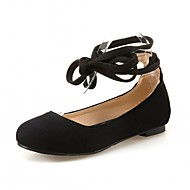 cheap Women's Flats-Women's Shoes PU Synthetic Leatherette Spring Summer Comfort Novelty Flats Walking Shoes Flat Heel Round Toe Lace-up for Casual Party &