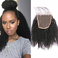 Afro Kinky Curly Lace Closure Bleached Knots 4x4 Free/Middle/Three Part Brazilian Non-remy Human Hair Natural Black