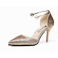 tanie Obuwie damskie-Damskie Obuwie PU Lato Comfort Sandały Spacery Szpilka Pointed Toe na Na wolnym powietrzu Gold Black Silver