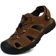 tanie Obuwie męskie-Męskie Komfortowe buty Skórzany Wiosna / Lato Sandały Sporty wodne Light Brown