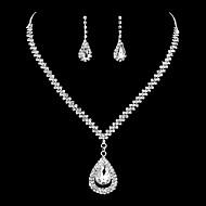 Žene Kubični Zirconia Umjetno drago kamenje Kubični Zirconia Srebrna Nakit Set uključiti - Klasik Elegantno Ispustiti Viseće naušnice