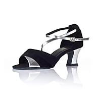 baratos Sapatilhas de Dança-Feminino Latina Couro Sandália Salto Interior Bloco de Cor Salto Robusto Preto 2,5 - 4,5 cm Não Personalizável