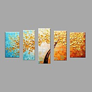 מצויר ביד פרחוני/בוטני מאוזן,פסטורלי סגנון ארופאי חמישה פנלים בד ציור שמן צבוע-Hang For קישוט הבית