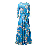 cheap -Women's Floral Plus Size Party / Holiday Street chic / Sophisticated Maxi Sheath Dress - Floral Blue Spring Blue XL XXL XXXL