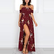 Kadın's Tatil Kumsal Kılıf Elbise - Çiçekli, Desen Straplez Maksi / Düşük Omuz