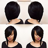 Women Short Dark Black Straight Side Part Bob Haircut Layered Haircut Asymmetrical Haircut With Bangs Synthetic Hair Capless Natural Wig