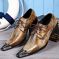 baratos Sapatos de Tamanho Pequeno-Homens Sapatos formais Pele Napa Primavera / Outono Vintage Oxfords Dourado / Festas & Noite / Sapatas de novidade