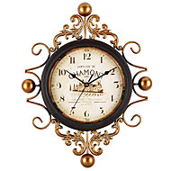 Holiday Wedding Family Wall Clock,Round Glass Iron Metal Indoor Clock