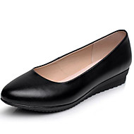 cheap Women's Flats-Women's Shoes Leather Spring Fall Basic Pump Flats Wedge Heel Round Toe for Office & Career Black