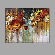 billiga Oljemålningar-Hang målad oljemålning HANDMÅLAD - Blommig / Botanisk Abstrakt Modern Duk