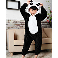 Børne Kigurumi-pyjamas Panda Onesie-pyjamas Flanel Fleece Sort Cosplay Til Drenge og piger Nattøj Med Dyr Tegneserie Festival / Højtider Kostumer