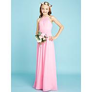 cheap -A-Line Halter Neck Floor Length Chiffon Junior Bridesmaid Dress with Sash / Ribbon by LAN TING BRIDE® / Natural