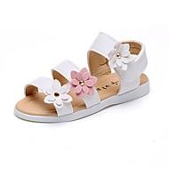 Para Meninas sapatos Courino Verão Outono Sandálias Caminhada Apliques Flor para Branco Rosa claro