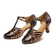 baratos Sapatilhas de Dança-Mulheres Sapatos de Dança Latina Courino Sandália / Têni Salto Robusto Não Personalizável Sapatos de Dança Bronze / Couro / Profissional