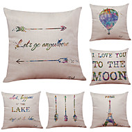 Set of 6 Quotes & Sayings Pattern Linen Pillowcase Sofa Home Decor Cushion Cover  Throw Pillow Case (18*18inch)