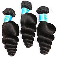 人毛 バミーズヘア 人間の髪編む ルーズウェーブ ヘアエクステンション 3個 ブラック