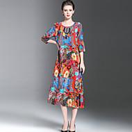 Χαμηλού Κόστους YHSP®-Γυναικεία Μεγάλα Μεγέθη Εξόδου Βίντατζ / Κινεζικό στυλ / Εκλεπτυσμένο Φαρδιά Φαρδιά Φόρεμα - Φλοράλ, Κομψό / Στάμπα Μίντι