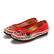 cheap Women's Flats-Women's Shoes Fabric Spring Fall Flats Flat Heel Round Toe Flower Braided Strap for Black Red