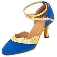 billige Moderne sko-Dame Moderne Velourisert Glimtende Glitter Sandaler Høye hæler Profesjonell Paljetter Spenne Glimtende Glitter Kustomisert hæl Blå
