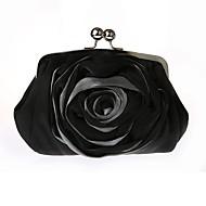 baratos Clutches & Bolsas de Noite-Mulheres Bolsas Chifon / Seda Bolsa de Mão Cristal / Strass / Flor Sólido Branco / Preto / Vermelho