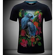 Masculino Camiseta Simples Verão,Estampa Animal 100% algodão Decote Redondo Manga Curta Opaca