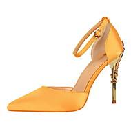 baratos Sapatos Femininos-Mulheres Sapatos Courino Primavera / Outono Conforto Saltos Salto Agulha Dedo Apontado Presilha Rosa Claro / Vinho / Champanhe / Social