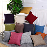 cheap Pillow Covers-1 pcs Cotton/Linen Pillow Case Pillow Cover, Solid Novelty Casual Traditional/Classic