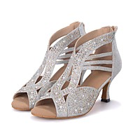 cheap Dance Shoes-Women's Latin Shoes Sparkling Glitter Sandal / Heel Rhinestone / Sparkling Glitter Flared Heel Customizable Dance Shoes Black / Silver / Golden / Performance / Leather / Professional