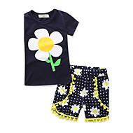 Piger Indstiller Mode Geometrisk,100% Bomuld Sommer Short Pant Tøjsæt