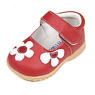 Bebek Ayakkabı Deri Bahar Sonbahar Rahat Düz Ayakkabılar Yürüyüş Alçak Topuk Yuvarlak Uçlu Sihirli Bant Uyumluluk Günlük Beyaz Siyah