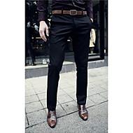 Pánské Aktivní Mikro elastické Oblek Provozovna Kalhoty Štíhlý Mid Rise Čistá barva Jednobarevné