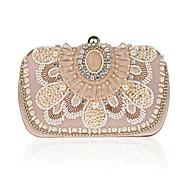 billiga Kvälls-handväska-ador® kvinnors väska polyesteraftonpåse imitation pärla / kristall / rhinestone solidfärgad champagne / vit / svart