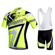Fastcute สำหรับผู้ชาย แขนสั้น Cycling Jersey with Bib Shorts - สีดำ ขนาดพิเศษ จักรยาน Bib Shorts เสื้อยืด รายการถุงน่อง ระบายอากาศ 3D Pad แห้งเร็ว Sweat-wicking กีฬา เส้นใยสังเคราะห์ ไลคร่า Bubble